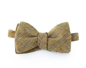 Mens brown bow tie, linen plaid bow tie, wedding bow tie, gift for men,  bow tie in blue square , Mens Gift, Boyfriend gift, hand made
