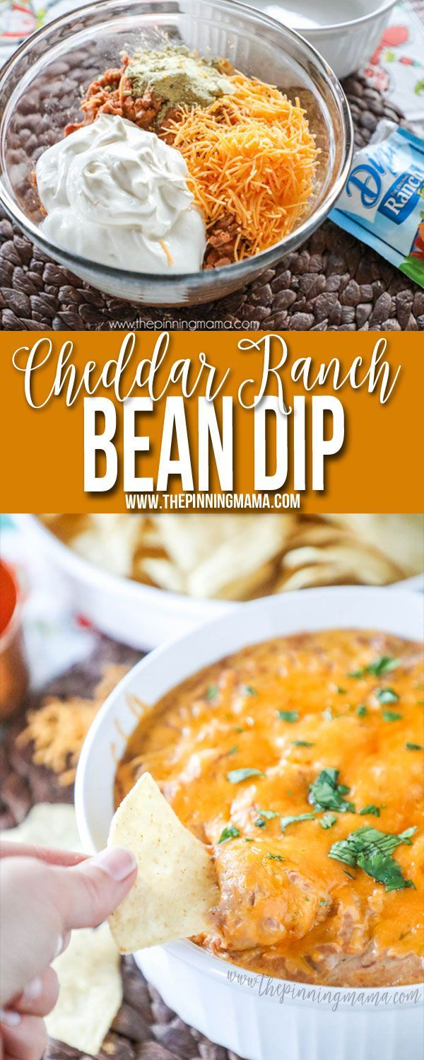 This Cheddar Ranch Bean Dip recipe is absolutely the perfect quick and easy party appetizer. You only need 4 ingredients and you can have it from the pantry to the oven in just 5 minutes.
