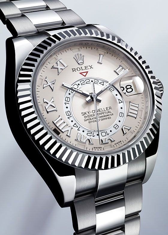 The Rolex Sky-Dweller, shown in white gold, comes equipped with both a second time zone (the second time zone is indicated by an off-center, rotating 24-hour disk) and an annual calendar.  The case measures 42 mm in diameter, is water-resistant to 100 meters and holds the Caliber 9001.  More @ http://www.watchtime.com/featured/mastering-rolex-sky-dweller/  #rolex #watchtime #luxurywatch