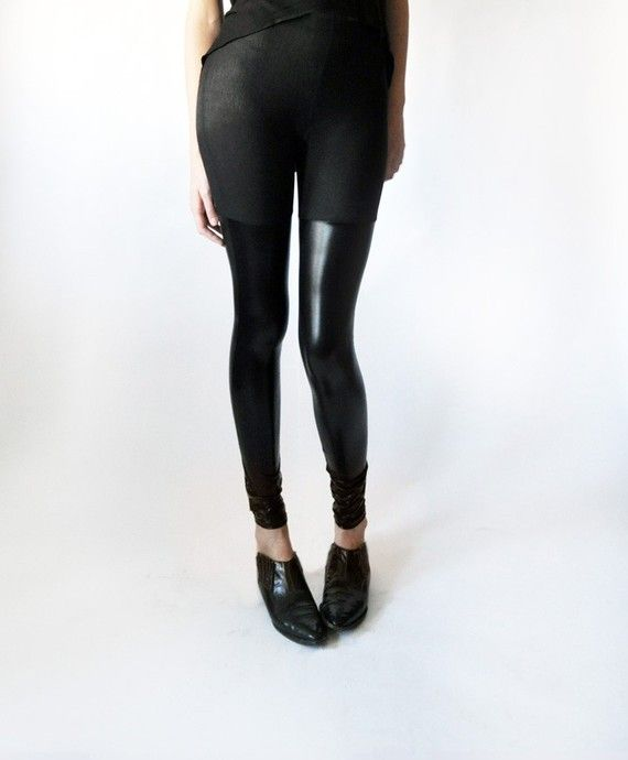 Over the knee stretch faux leather panel leggings by LeilanniLand, $60.00