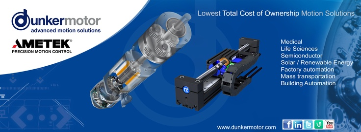 Dunkermotor Facebook banner. Dunkermotoren is now part of Ametek. www.dunkermotor.com