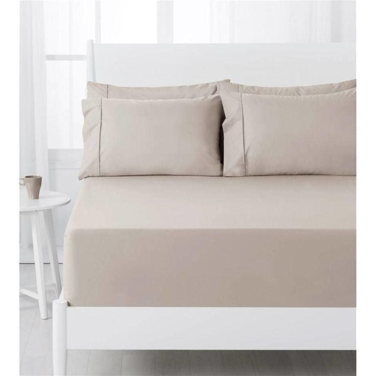 Dreamaker Easy Care 250TC Fitted Sheet Set SB Latte