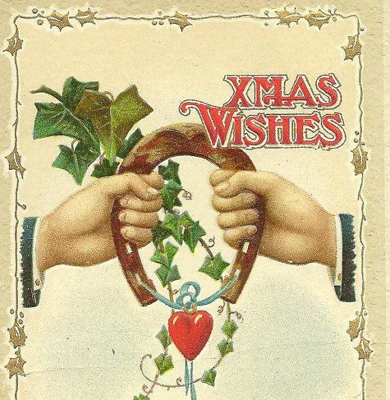 Xmas Wishes Golden Horseshoe Little Red Heart by TheOldBarnDoor