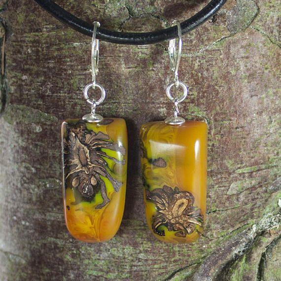 Pine cone earrings