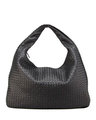 Veneta Intrecciato Maxi Hobo Bag, Black by Bottega Veneta at Neiman Marcus. 078deb2faa