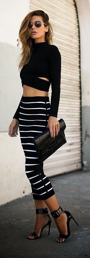 #popular #street #style #outfits #spring #2016 | Edgy Striped Skirt + Crop Top                                                                             Source