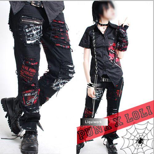 Cyberpunk Punk Rock Rocker Emo Clothes Pants for Men Women