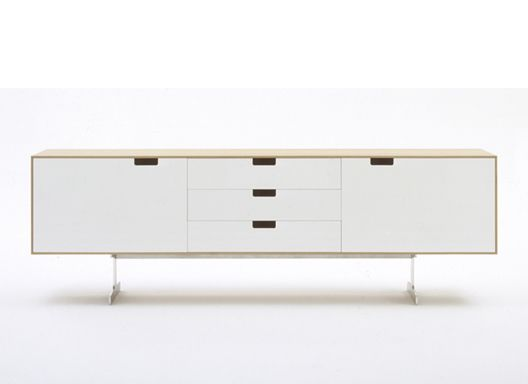 Jasper Morrison. Simplon A series of tables and storage units. Manufactured from aluminium honeycomb composite and solid aluminium. Finished using a selection of natural oak, polished lacquer and anodisation.