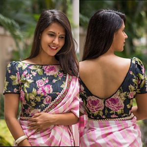 Love blouse with rose leheriya saree, sari