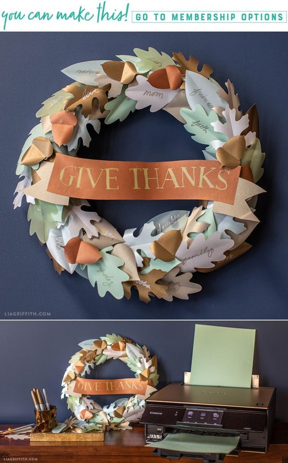 Printable Thanksgiving Wreath - Lia Griffith - www.liagriffith.com #spons @canonusa #diyholiday #diyinspiration #homefortheholidays #thanksgiving #givethanks #diywreath #madewithlia