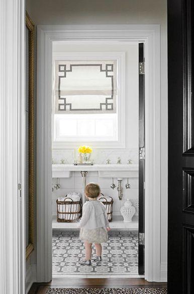 : Interior, Idea, Floor, Romanshades, Window Treatments, Roman Shades, Greek Key, Bathroom, Design