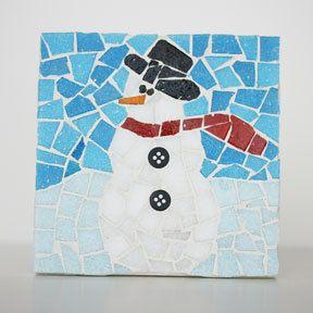 Snowman Mosaic Coaster by MosaicMadness on Etsy, $54.00