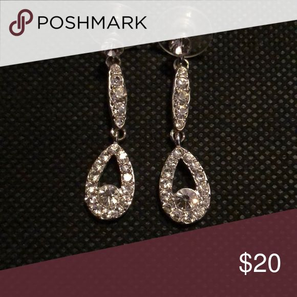 Silver rhinestone dangling earrings Wore these for prom! Love them but have no where else to wear them to :( Jewelry Earrings