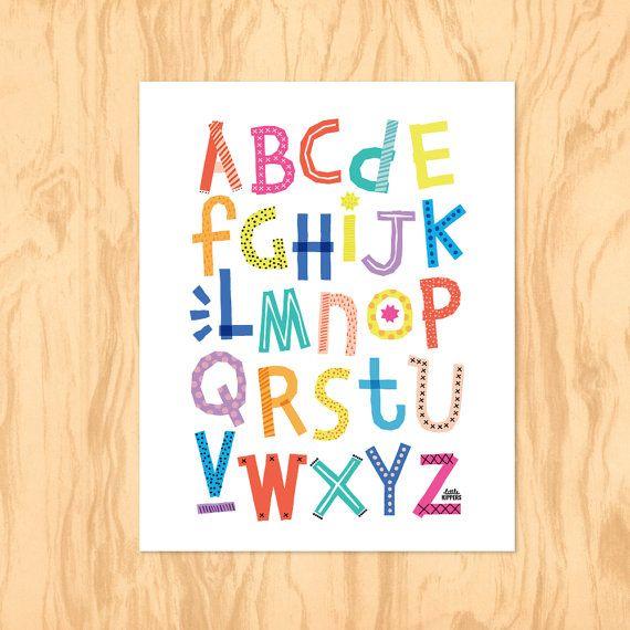 RAINBOW ALPHABET : Printable Art Nursery Art Kids by LittleKipper