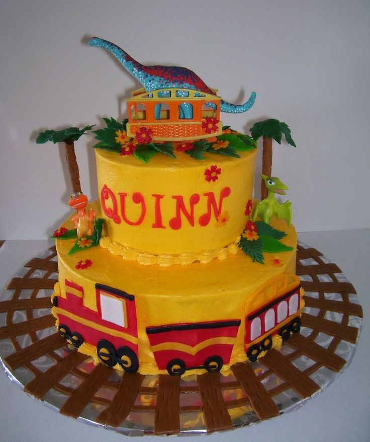 Dinasaur train cartoon where a dino is adopted, so this theme cake celebrates a adoption of a little girl...Best wished to this family  your daughter is beautiful