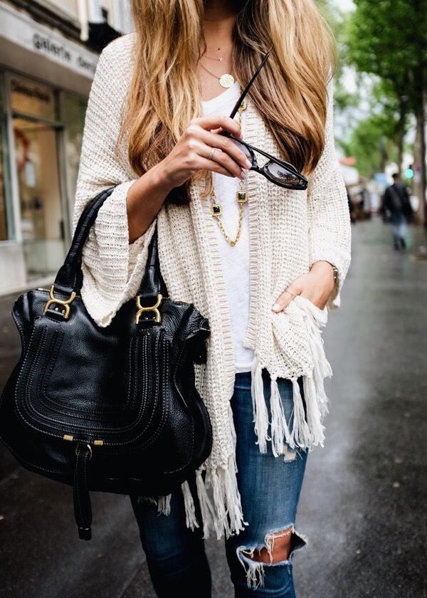 Stylist: love this cardigan for the summer! Although the fringe might not be professional I love the color and sleeves.