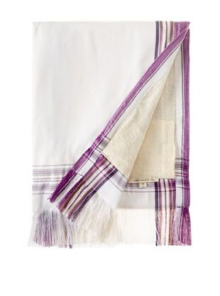 Nomadic Thread Society Fringed Surf Sarong Towel, White/Purple, 69