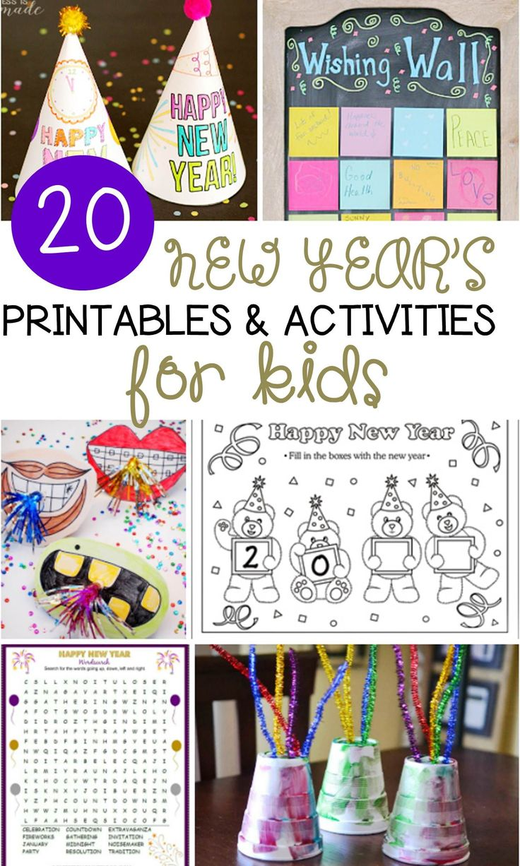 Need to keep the kids busy during New Year's Eve? Here is a round up of 20 Kids Activities: games, crafts and printables for New Year's Eve!
