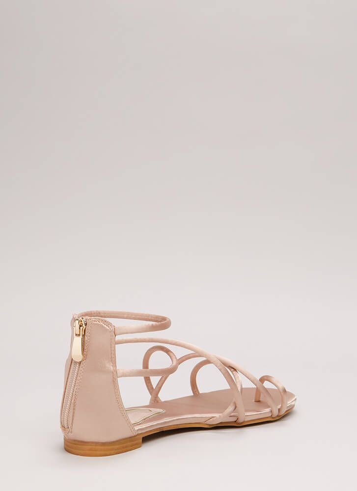 Jump Thru Loops Strappy Satin Sandals NUDE