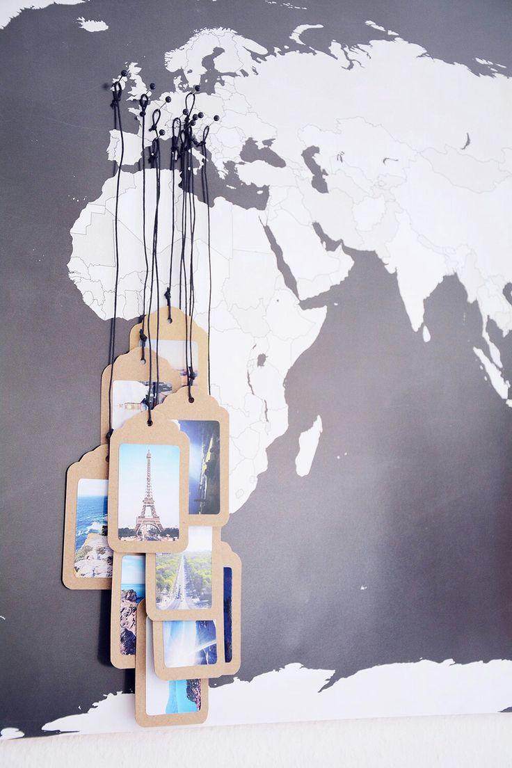 Mapa mundo chincheta negro blanco bola etiqueta marrón hilo cuerda colgar foto recuerdo lugar
