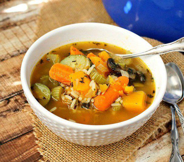 Овощной суп с диким рисом