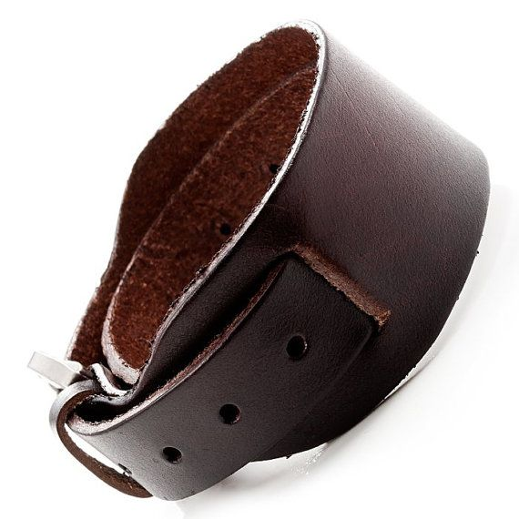 Mens Leather Cuff / Mens Brown Bracelet / Mens Leather Bracelet / Brown Leather & Silver Buckle / Mens Wrist Belt / Mens Leather Jewelry