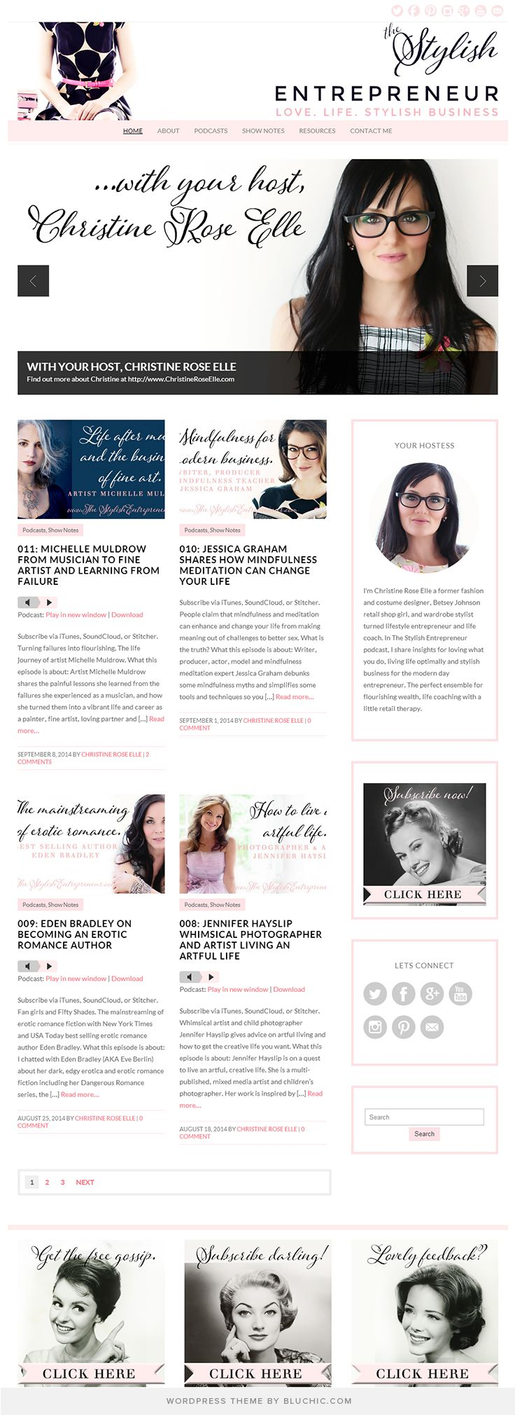 Blog design for The Stylish Entrepreneur. Running on Isabelle feminine WordPress Theme.