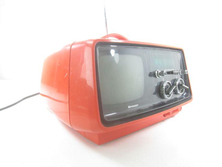 Vintage Television Radio Set, Sharp Portable Television and Radio, TV Set, Black and White, Photo Prop, Portable tv set, Orange by KarensChicNShabby on Etsy