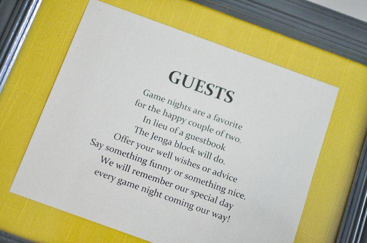 Jenga Guestbook Poem