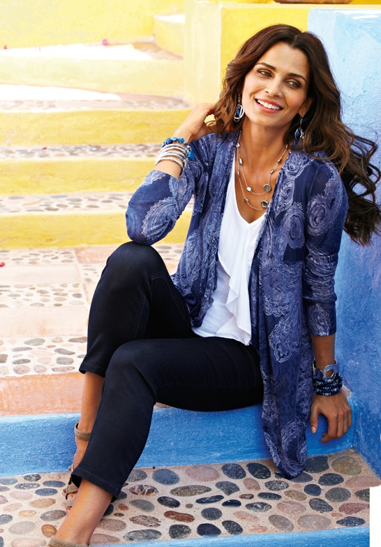 Royal Paisley Cardigan with Ruffle Tank #chicos
