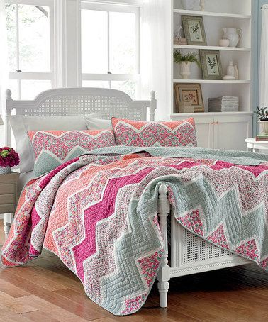 Fuchsia & Gray Ainsley Quilt Sham by Laura Ashley Home #zulily #zulilyfinds