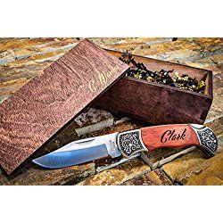 Custom Gentlemans Knives w/ Engraved Wood Boxes- Wooden Groomsmen Gift Box Set Groomsman Personalized Knife Husband Hunting Man Mens Boyfriend Wedding Gifts Folding Rustic Pocket Knifes Locks Open