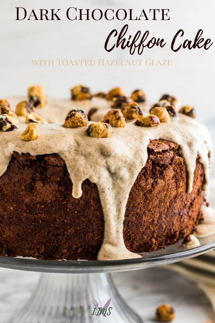 Combining dark chocolate and hazelnut makes this dark chocolate chiffon cake recipe a hit! Inspired by my love's love of dark chocolate and affinity for hazelnut, this cake is rich and decadent. #fromscratch #chiffoncake #chocolatecake #hazelnut #ijustmakesandwiches #dessertrecipes #cake via @ijustmakesandwi