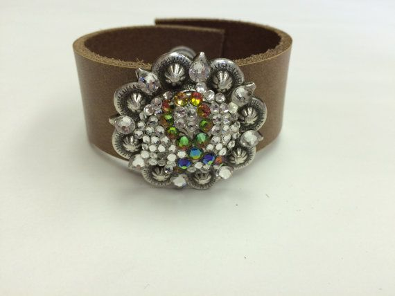 Concho cuff bracelet Ribbon Concho Bracelet by StarBoundWestern