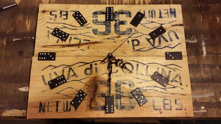 Domino clock, wine crate wood, handmade art. 20$ at www.nancy-cie.com