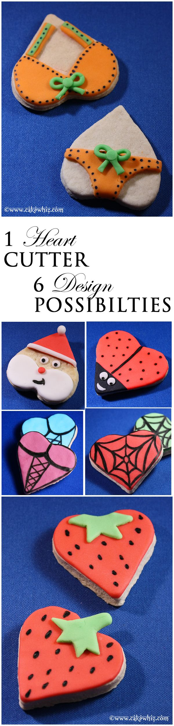 Use a single heart cookie cutter to make 6 cute designs