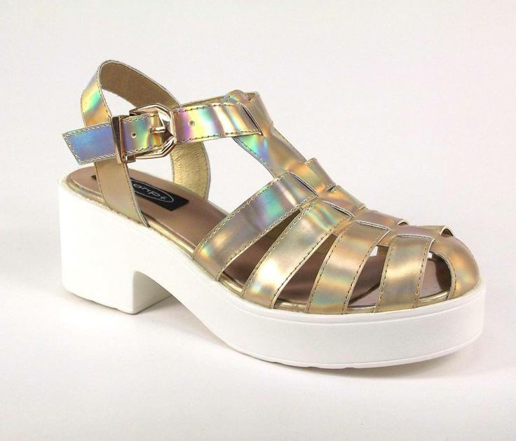NEW IN :: Love Gold Hologram Cut Our Platform Shoes