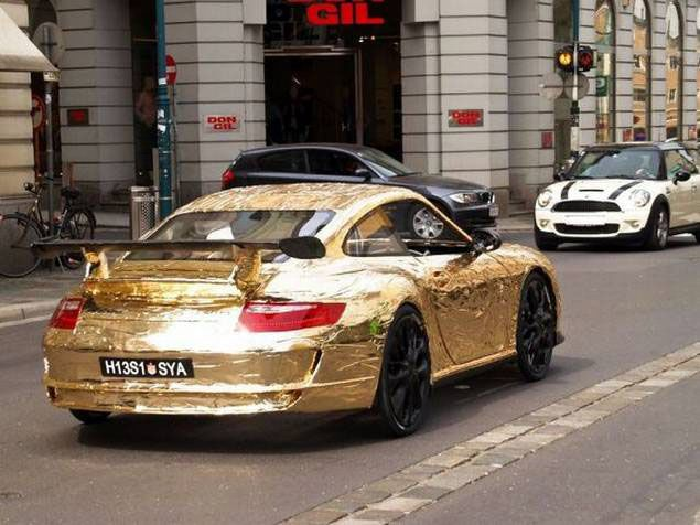 DIY Genius Creates Shiny Gold Peddle-Powered Porsche Roadster