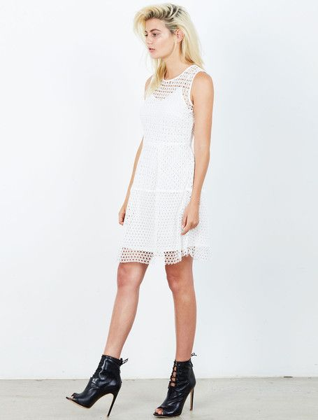 ISLA BROADWAY DRESS from the Tribeca Collection. One of those flirty little white dresses that you'll have in your closet forever. This embroidered lace fit and flare dress has beautiful contrast panels and hits just above the knee with a dash of peak-a-boo finish. Partially lined, with a concealed rear zip and hook closure. Available: www.islalabel.com  #islalabel #fashion #style #winter #lwd #lace #white