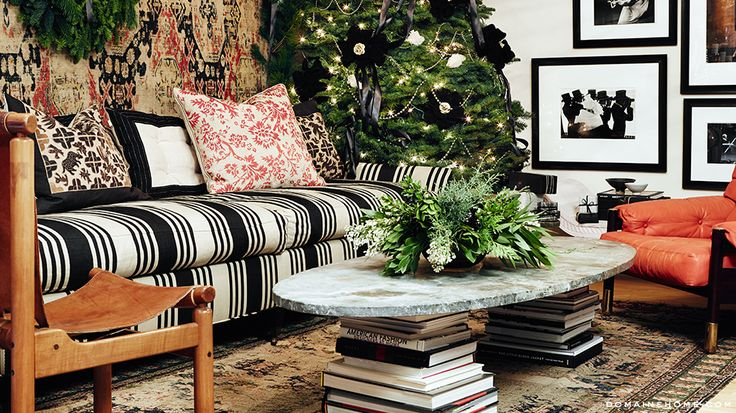 Love, love, love the white and black striped sofa.  Love this fabric from Lee Jofa.