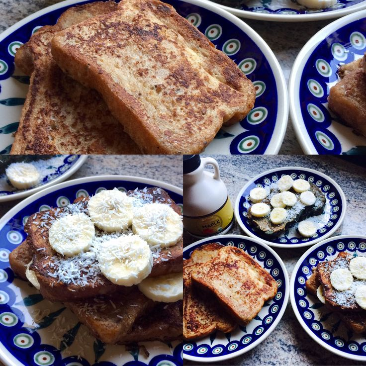 #glutenfree #dairyfree TROPICAL FRENCH TOAST!  - 8 to 10 slices GF bread  - 2 eggs - 1 cup full-fat coconut milk (stir well to get rid of any lumps) - 1 tsp pure vanilla extract - 1 tsp ground cinnamon - 3 drops wild orange essential oil or 1-2 tsp orange zest - dash nutmeg - pinch sea salt - 2 to 3 Tbsp coconut oil for frying - Pure maple syrup, bananas, and shredded unsweetened @troptraditions coconut for topping!
