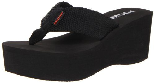 Rocket Dog Women's Crush Platform Thong Sandal -  These platform Crush sandals by Rocket Dog will help you see eye to eye with that special someone.  Fabric upper in a casual slip-on thong platform wedge sandal style with a round toe.  A stitched fabric toe thong post with a logo tag detail wraps over dual side woven fabric instep straps.  ... #Shoes