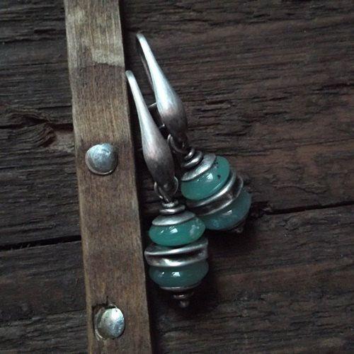 DOUBLE green, chrysoprase earrings, pastel green, sterling silver, green earrings by pieceofmysoulArt on Etsy