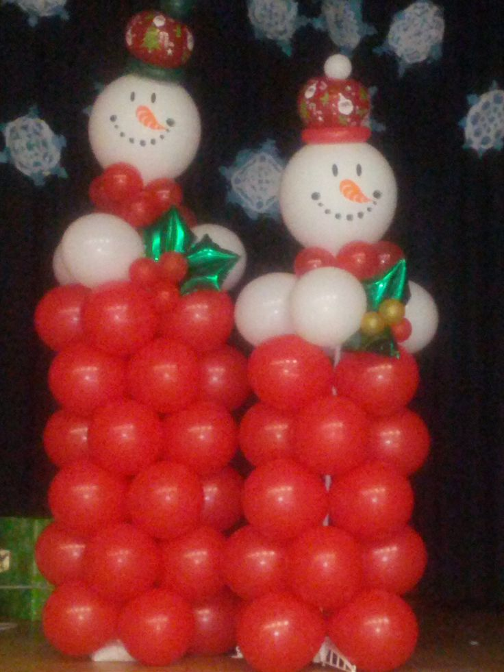 Christmas theme balloon columns decoraci n fiestas - Decoracion fiesta navidad ...
