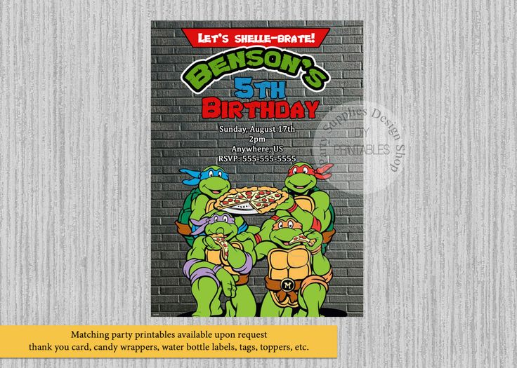 TMNT Ninja Turtles Birthday Invitations, Ninja Turtles Party Invitations, DIY Printable, Ninja Turtles Party Supplies, Ninja Turtles Party by PartysuppliesDesign on Etsy https://www.etsy.com/listing/477420829/tmnt-ninja-turtles-birthday-invitations