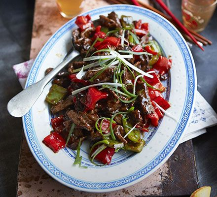 Stir-fried beef with oyster sauce: Marinate slices of lean beef steak then pan-fry with chunks of red pepper and a savoury sauce in this classic Chinese dish