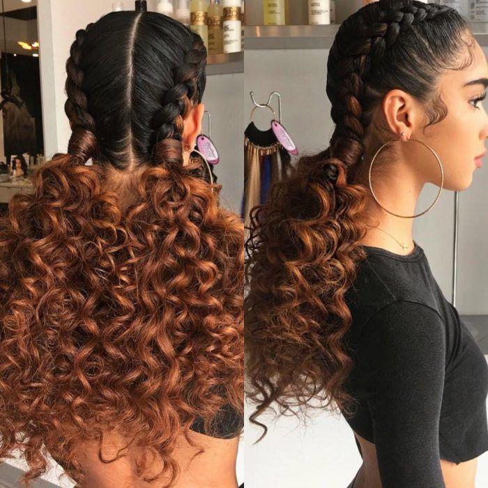 Chica Con Trenzas Con Coletas Llenas De Rizos Trenzas En Coleta Peinados Para Cabello Rizado Peinados Poco Cabello