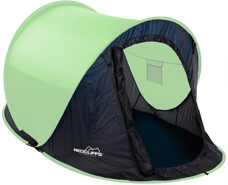 Redcliffs 2 persoons Pop-Up tent groen  Redcliffs 2-persoons Pop-Up tent  Deze Pop-up tent zet je in een handomdraai neer  Pop-Up tenten zijn perfekt bij festivals of als bijzettent voor de kinderen  Het is een zeer compacte tent geschikt voor 2 personen  Het ovale grondoppervlak heeft als grootste maat: 220x120cm de hoogte bedraagt 95cm   Neemt zeer weinig ruimte in (90x2.5cm)  Verpakt in een handige draagtas  Levering in de kleur GROEN  EUR 35.95  Meer informatie