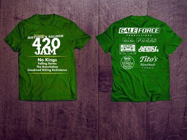 Order your OFFICIAL - Gale Force 4th Annual Mother's Saloon 420 JAM T-Shirt online today!