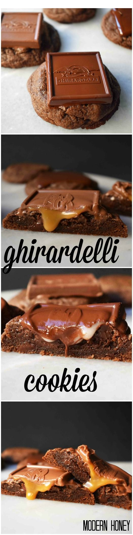 Ghirardelli Squares Chocolate Cookies. Rich double chocolate cookies topped with caramel filled chocolate. Can be topped with any Ghirardelli chocolate square from chocolate mint to sea salt almond. A huge crowd favorite cookie!